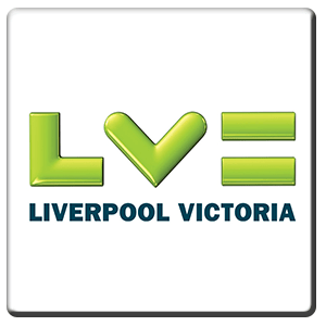 A square tile bearing the company logo of Liverpool Victoria