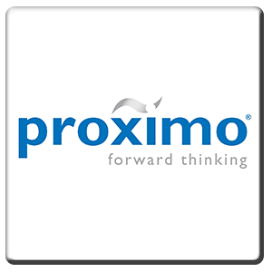A square tile bearing the company logo of Proximo