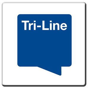 A square tile bearing the company logo of Tri-Line