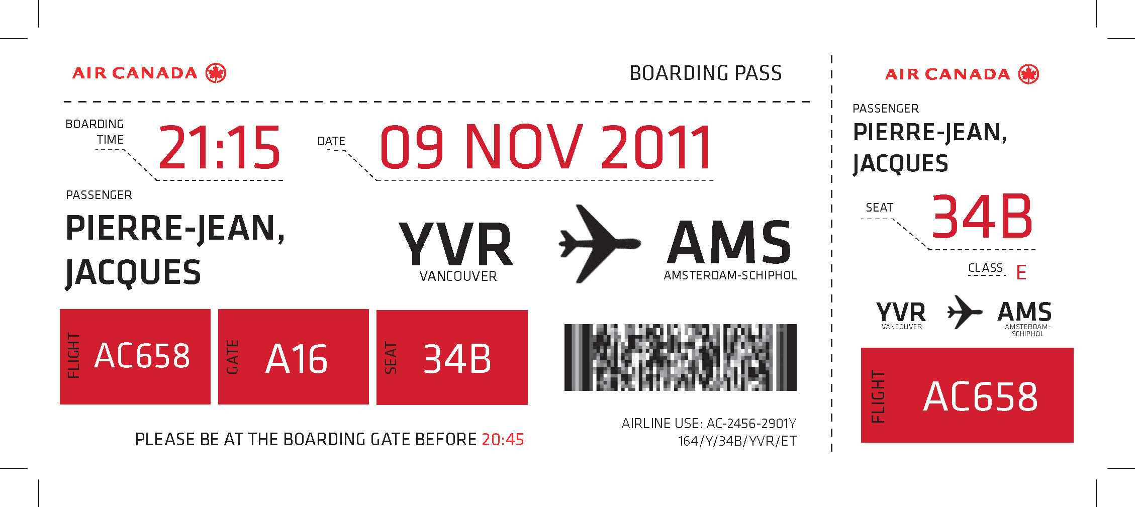 Canada Airline Boarding Pass Design