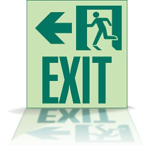 Exit Sign With Reflection
