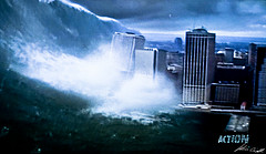 Large Cinematic Tsunami Pushing Over Buildings
