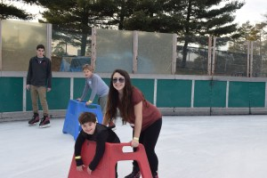 Young people have fun at Friends@Home Day at Schenley Park skating rink.