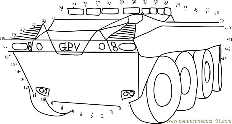 General Purpose Vehicle dot to dot printable worksheet
