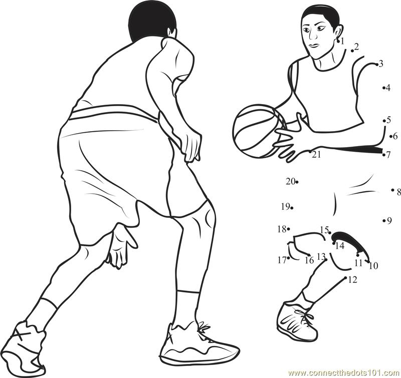 Basketball Dodging dot to dot printable worksheet