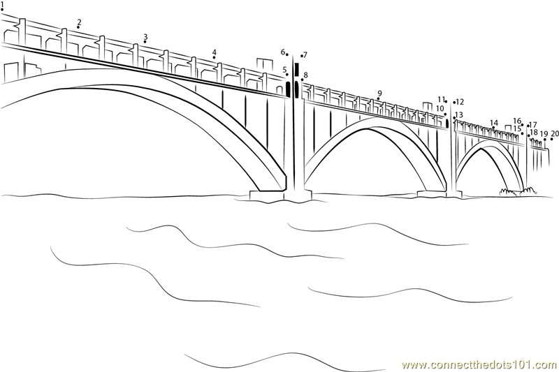 Bridges in Zaporizhia dot to dot printable worksheet