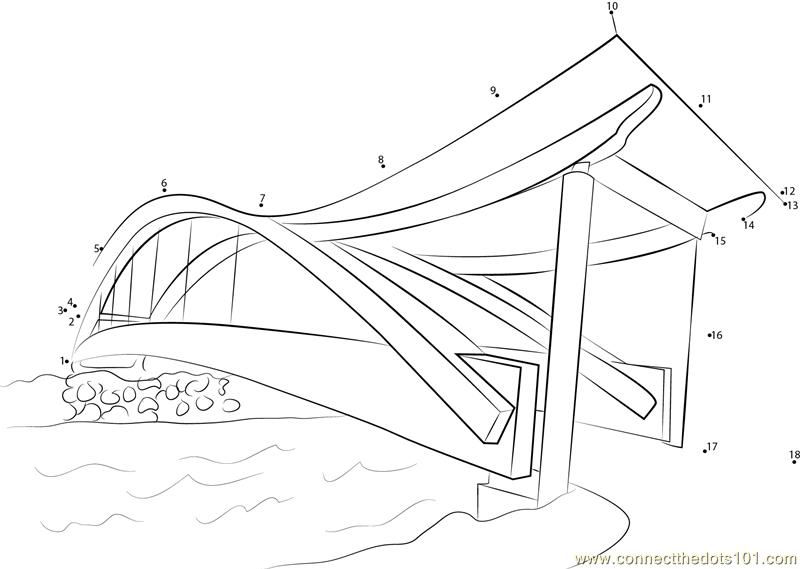 Pedestrian Bridges dot to dot printable worksheet