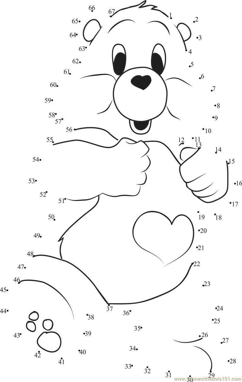 Special Care Bear Dot To Dot Printable Worksheet