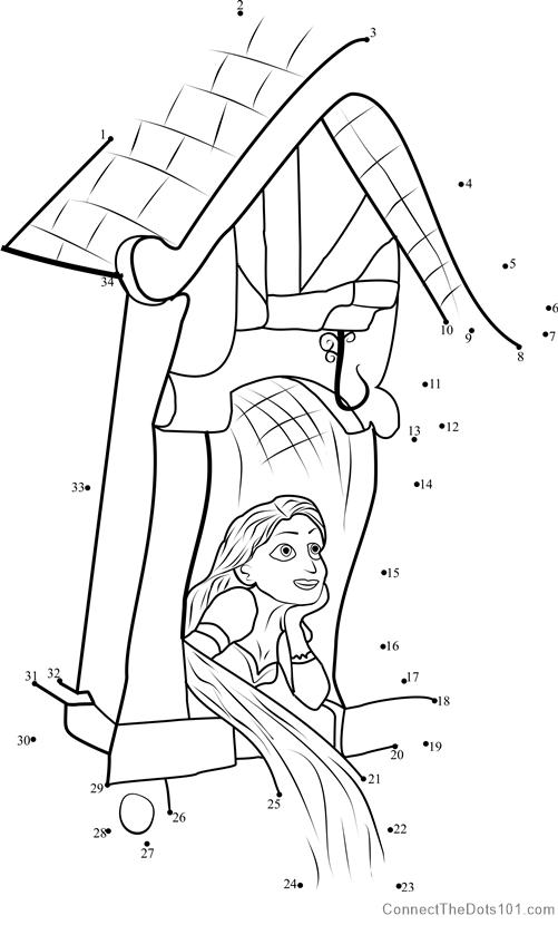 Rapunzel In Castle Dot To Dot Printable Worksheet