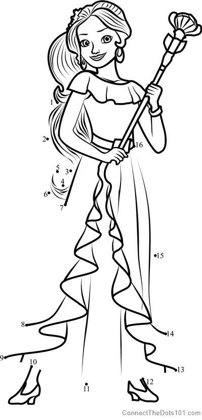 Princess Elena From Elena Of Avalor Dot To Dot Printable