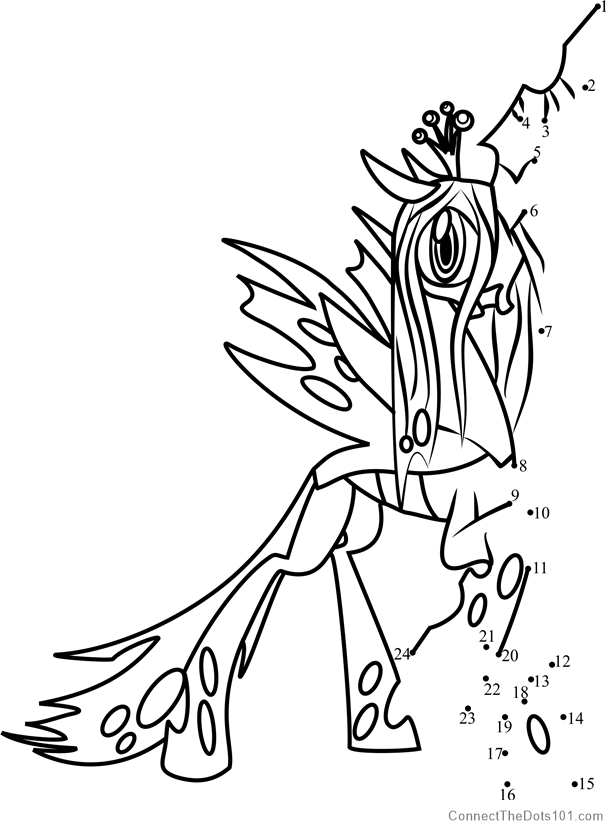 Queen Chrysalis My Little Pony Dot To Dot Printable