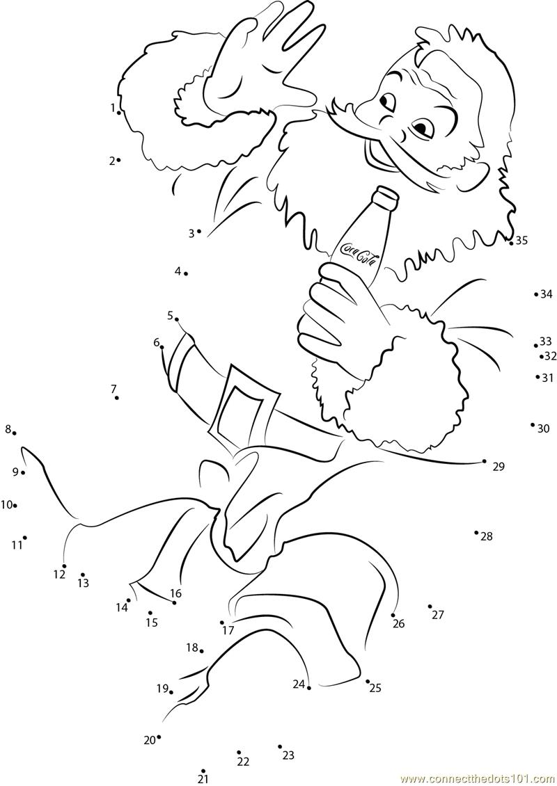 Santa claus drink coca cola dot to dot printable worksheet