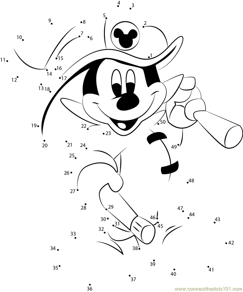 Mickey Mouse Fireman dot to dot printable worksheet