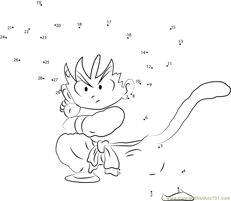 Goku Ready to Fight dot to dot printable worksheet