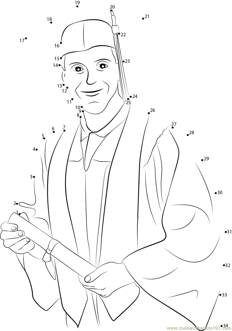 College Students at their Graduation dot to dot printable