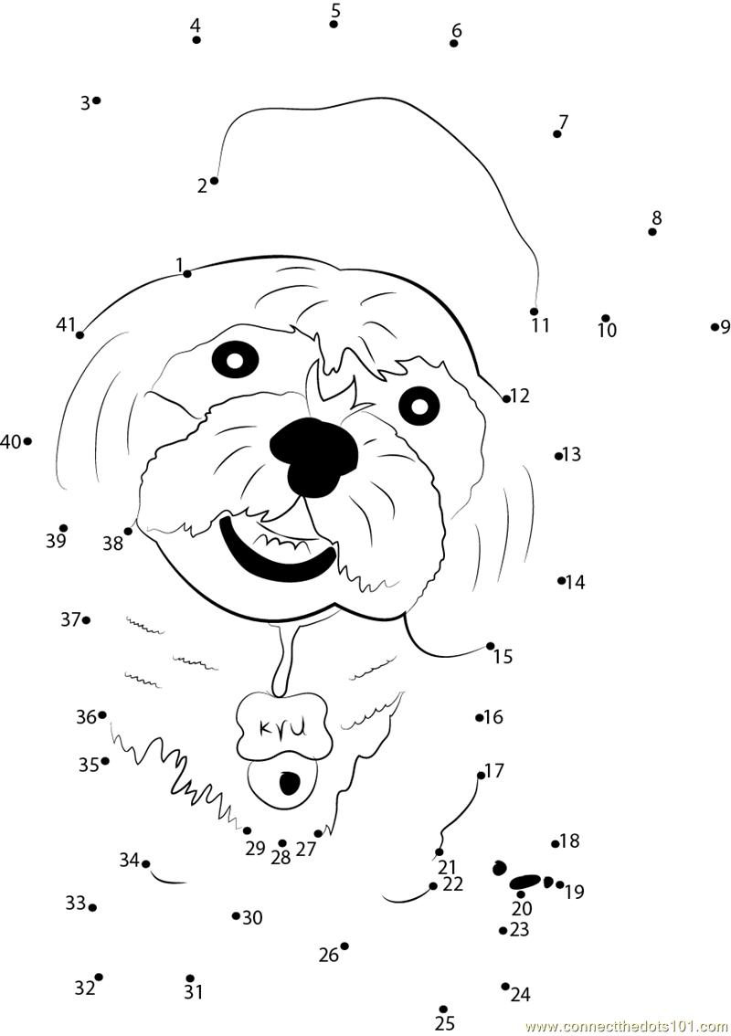 Dog Beginner Graduation dot to dot printable worksheet