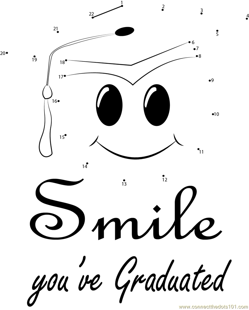 Smile You've Graduated dot to dot printable worksheet
