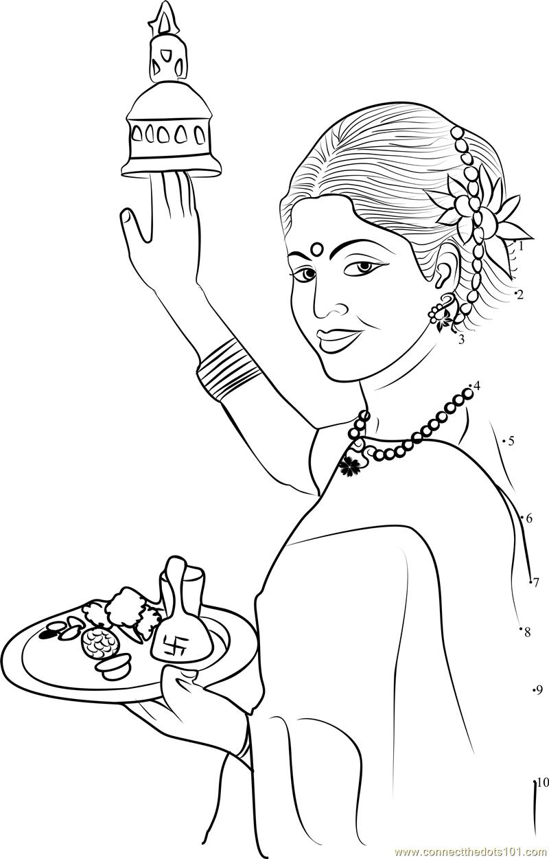 Hindu Puja Aarti Thali Dot To Dot Printable Worksheet