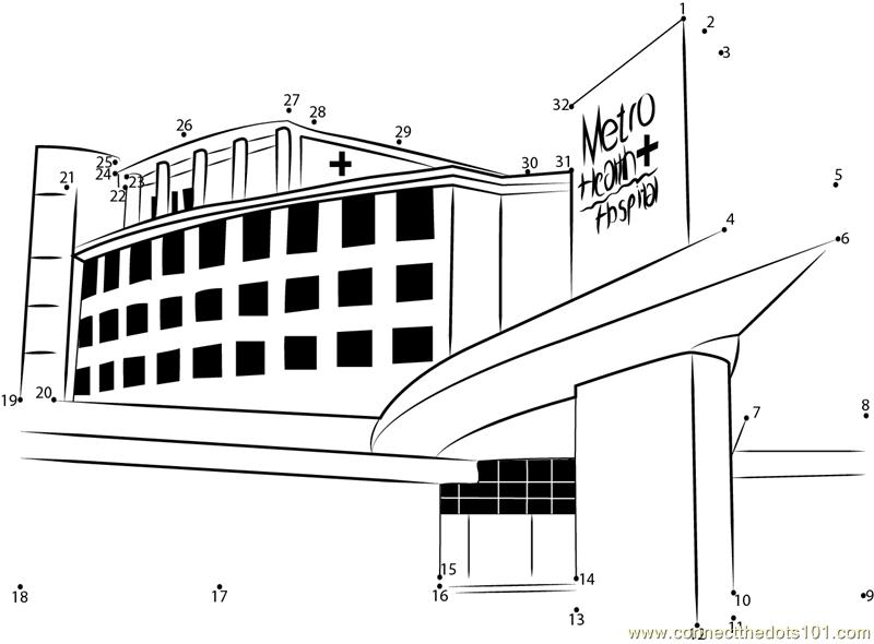 Metro Health Hospital dot to dot printable worksheet