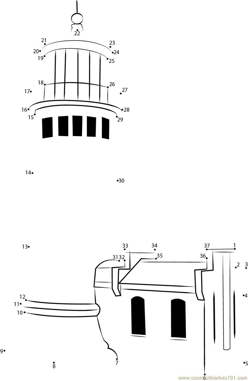 North Head Lighthouse dot to dot printable worksheet