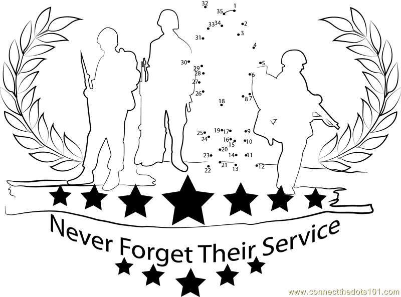 Memorial Day for Army dot to dot printable worksheet
