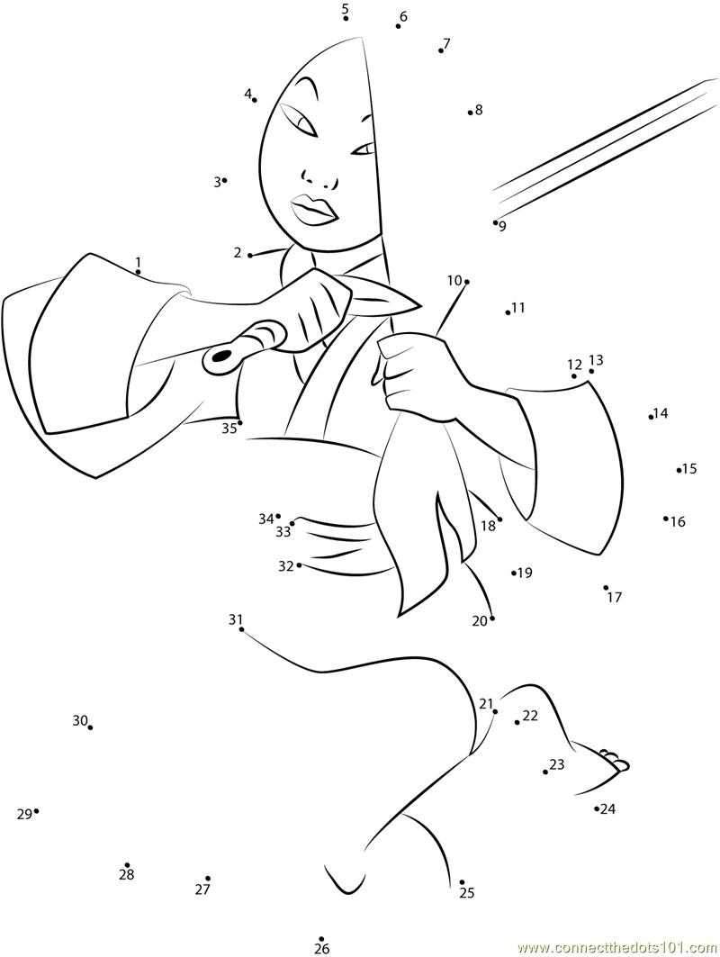 Mulan Cuts Hair with Sword dot to dot printable worksheet