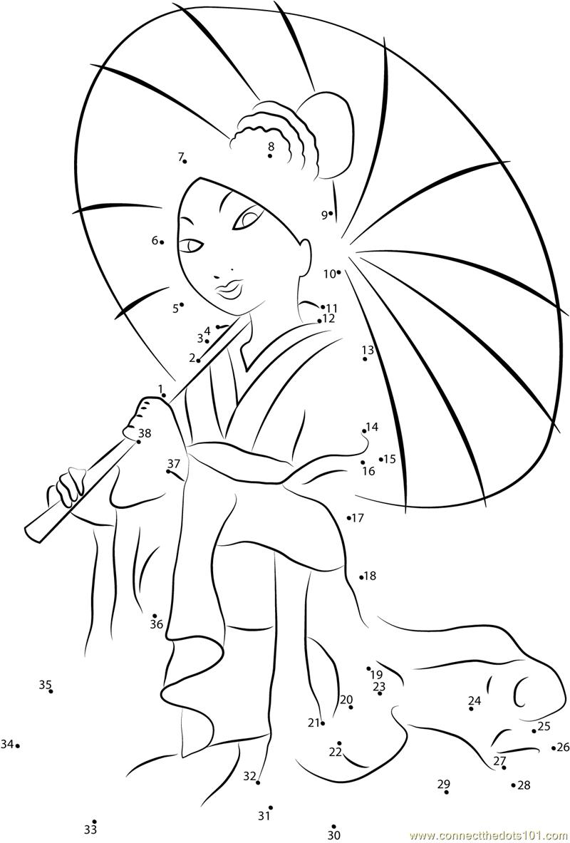 Mulan with Umbrella dot to dot printable worksheet