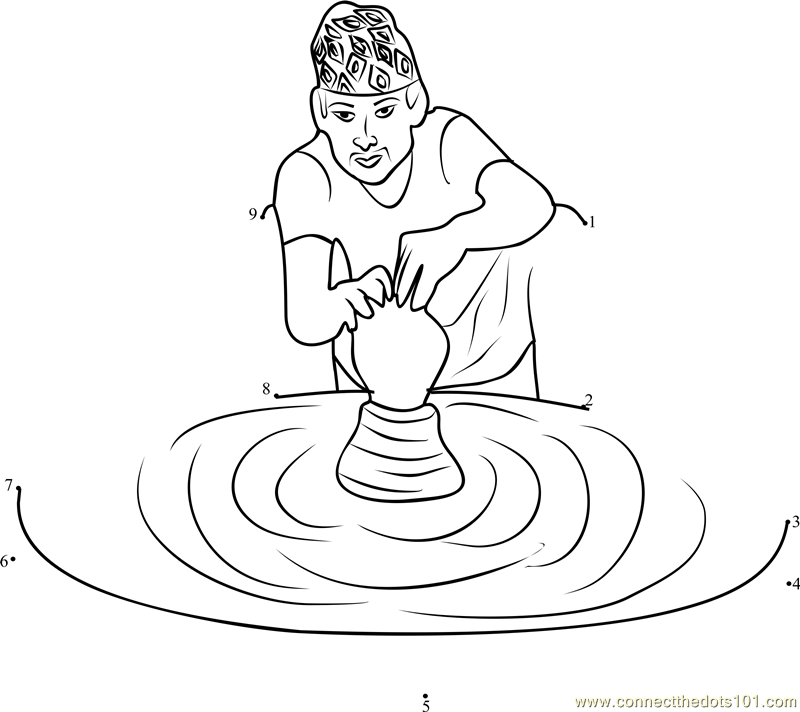 Nepal Occupation of Pottery dot to dot printable worksheet
