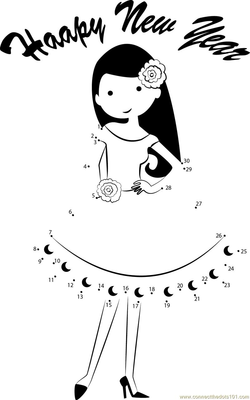 Girl Wishing Happy New Year Dot To Dot Printable Worksheet Connect The Dots
