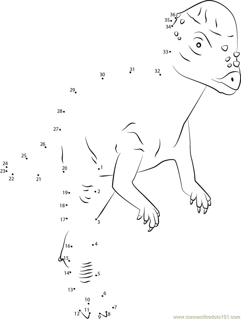 Pachycephalosaurus Dino dot to dot printable worksheet