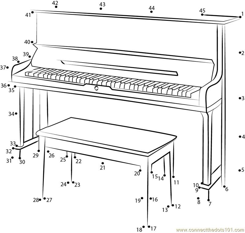 U3-SH Silent Upright Piano dot to dot printable worksheet