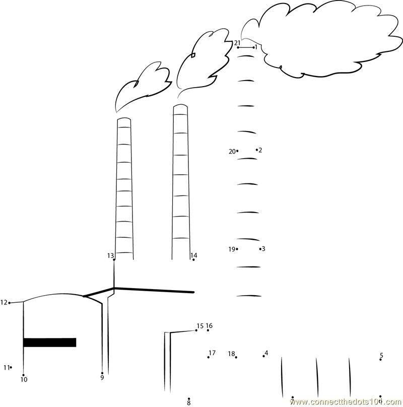 Madras Atomic Power Station dot to dot printable worksheet