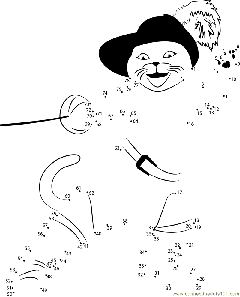 Puss in Boots in action dot to dot printable worksheet