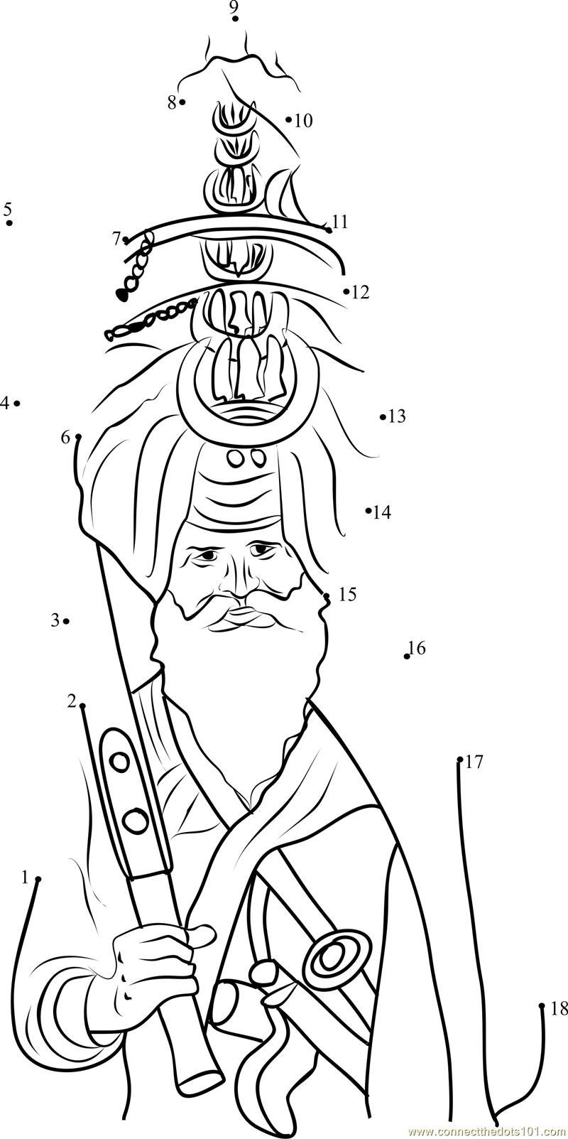 Sikh Pagri Dot To Dot Printable Worksheet
