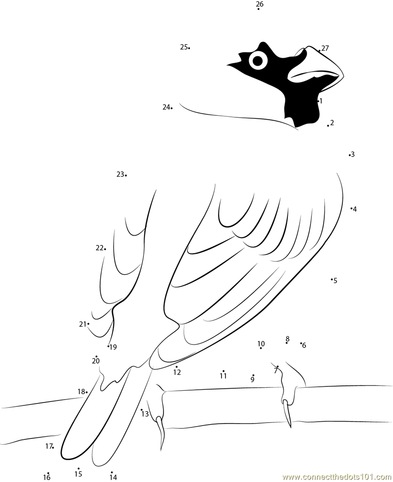 Male House Sparrow dot to dot printable worksheet