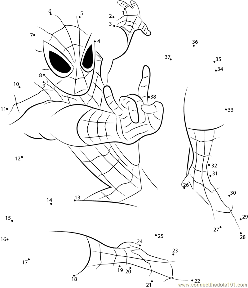 Spider Man Adventures dot to dot printable worksheet