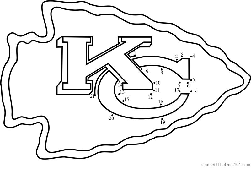 kansas city chiefs logo dot to dot printable worksheet