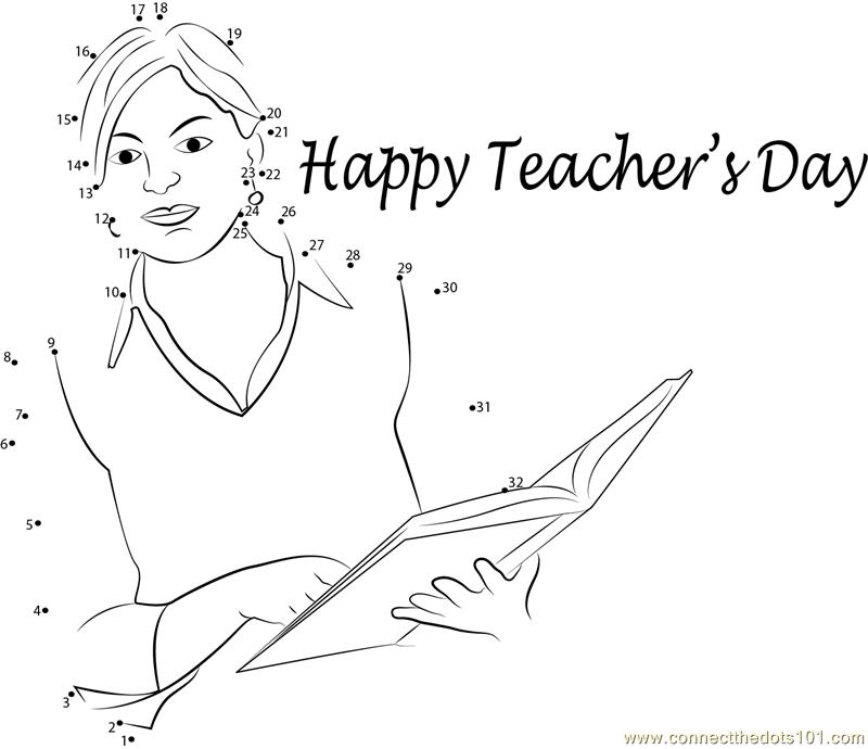 Beautiful Teachers Day dot to dot printable worksheet