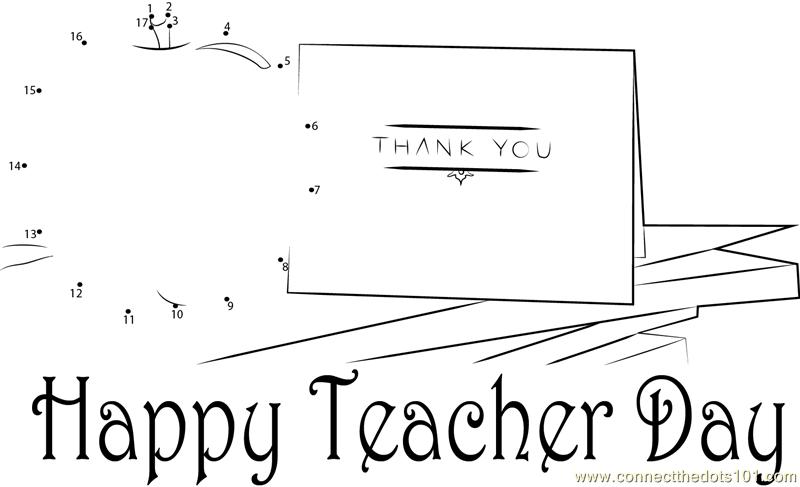 Teacher Day Thank You dot to dot printable worksheet