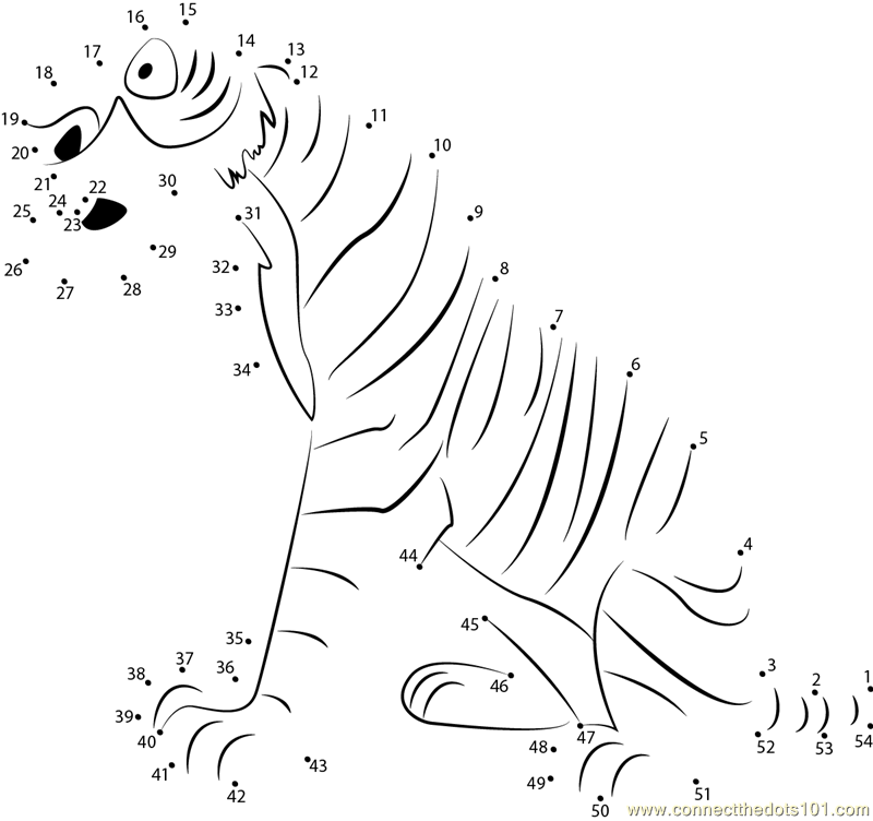 Shere Khan the tiger dot to dot printable worksheet
