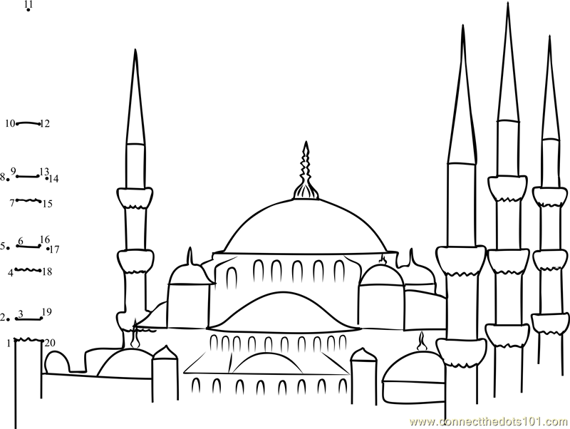 Blue Mosques in Turkey dot to dot printable worksheet