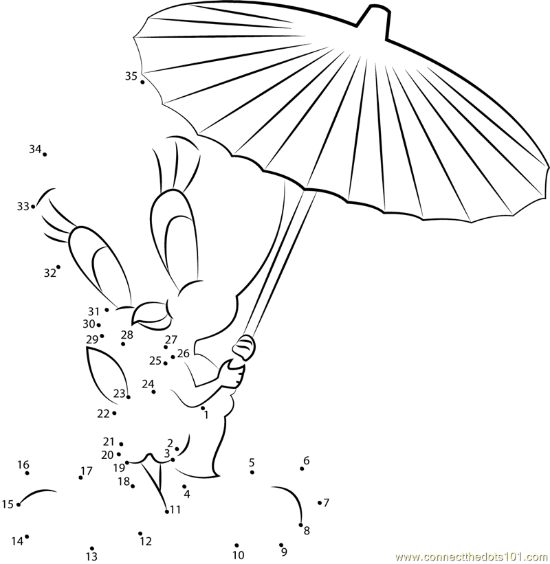 Tweety Bird with Umbrella dot to dot printable worksheet