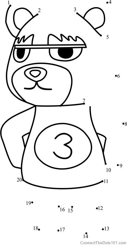 Grizzly Animal Crossing dot to dot printable worksheet