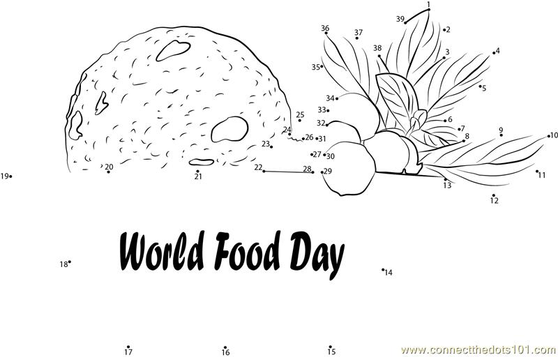 Celebrating Food Day dot to dot printable worksheet
