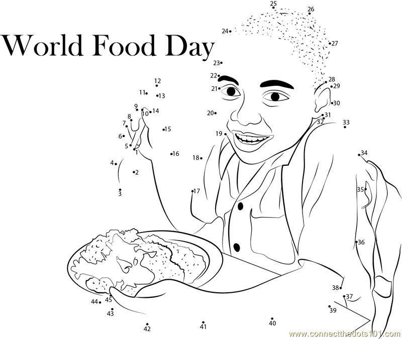 Hungry World Food Day dot to dot printable worksheet