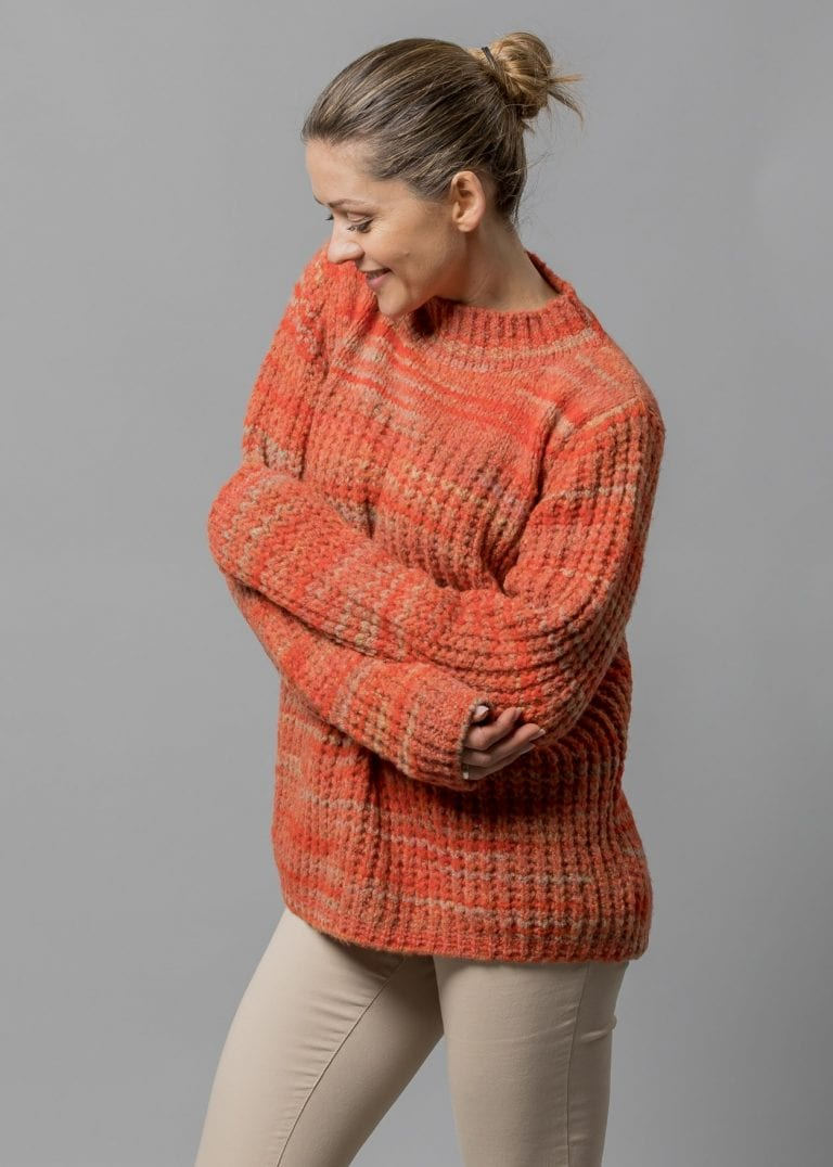 Connemara Grobstrick Pullover Damen Wolle mit Ballonärmel in orange