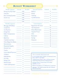 How To Create A Budget Worksheet. Worksheets. Tataiza Free