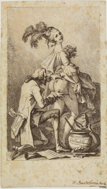 La Bastardina e il compositore Giuseppe Colla in una caricatura di Francesco Bartolozzi, 1770-80 (The British Museum)
