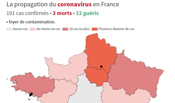 Covid-19 map of France shows spread as cases spike
