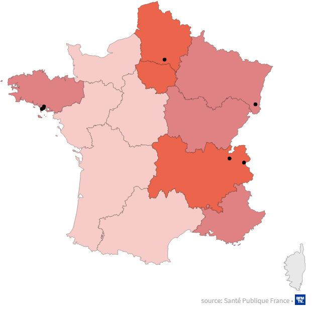 Map shows where new Covid-19 cases are in France